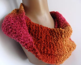 CLEARANCE SALE Multi Colored, OOAK Hand Knit Cowl