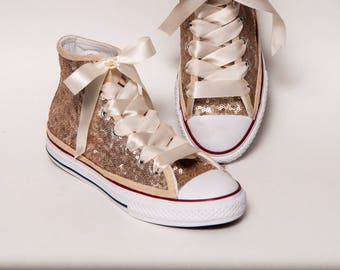 Kids - Youth - Champagne Gold Sequin Converse Canvas Hi Tops Sneakers Tennis Shoes with Satin Ribbon Laces