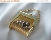 Sale Mesh Purse Pendant, Cherub, Mini Purse, Pill Holder, Goldtone, 1970s, Mesh Jewelry, Vintage Jewelry, Accessory