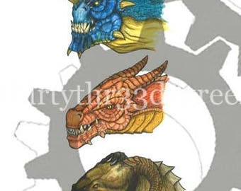 Three Dragon Concepts - Original Illustration