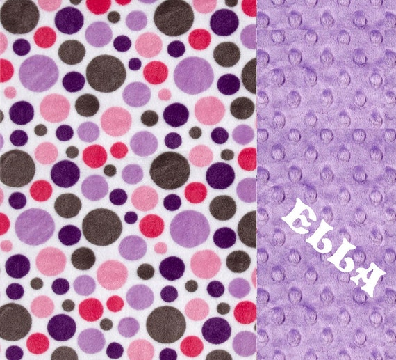 Minky Baby Blanket Girl, // Pink Gray Purple Dots Personalized Baby Blanket //  Stroller Blanket // Lilac Baby Blanket // Name Baby Blanket