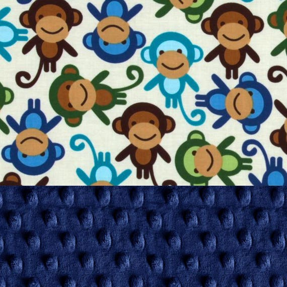 Personalized Baby Blanket - Monkey Baby Minky Blanket Boy, Blue Green // Name Baby Blanket // Monkey Baby Blanket // Baby Shower Gift