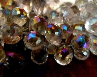 SALE Rainbow mystic rock crystal quartz faceted teardrop briolette