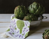 Kitchen Tea Towel - Artichokes & Olives : Michigan Made, USA, flower sack, cotton, absorbent, quality, strong, beautiful, gift, home KT303