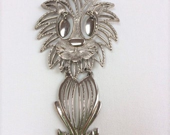 Vintage Articulated Silver Lion Pendant Necklace