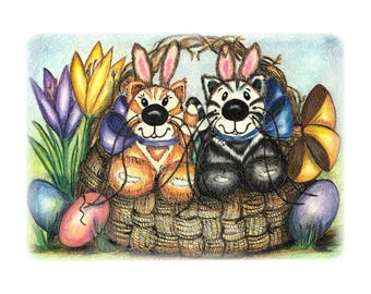 Happy Spring are 4 blank note cards of kittens wearing bunny ears in an Easter basket