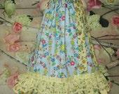 SALE SALE - Girls 4T/5 Dress, Blue Yellow Flower Boutique Pillowcase Dress, Pillow Case Dress, Sundress
