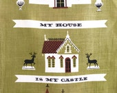 Vintage TAMMIS KEEFE Towel House Castle Cottage Mid Century Hanging Textile Home Sweet Home