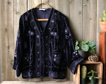 Velvet Jacket Bohemian Evening Wear For Women One Size Raaga Purple Coat Vintage From Nowvintage on Etsy