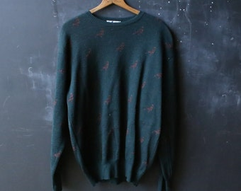 Mens Green Blue Sweater Size Large With Pheasants Tricots St Raphael Made in Uraguay Vintage From Nowvintage on Etsy