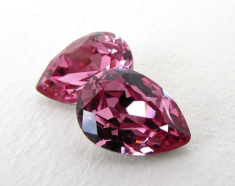Swarovski Crystal Rhinestone Rose Pink Pear Faceted Glass Jewel 14x10mm swa0794 (2)