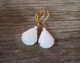 White Czech Glass Tear Drop Vintage Inspired Drop Earrings, Milk Glass