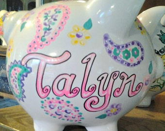 Personalized Piggy Bank Pastel Paisley Girls Hand Painted Shabby Chic