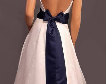 Satin wedding sash bridal belt prom evening pageant tie bridesmaid belt SSH100 AVL IN navy blue and 18 other colors CHOOSE Length & Width