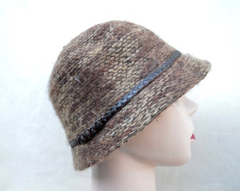 Brown Mohair Cloche Hat / Womens Brown Tweed Winter Hat /  Cloche With Braided Band / Vintage Inspired Cloche