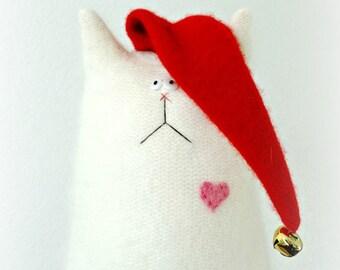 Stuffed Animal Cat Doll - Christmas Cat Doll - Jingle Cat - Stuffed Cat - Cat Lover Gift - Soft Toy Cat - White Cat Doll - Fluffy Cat Doll