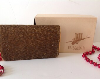 Vintage Magid Elegant Beaded Clutch Purse Evening Bag With Box