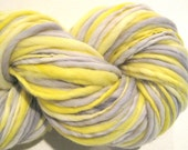 RESERVED for Yoko Bulky Handspun Yarn, Starlit, 3000 yards, hand dyed merino wool, yellow yarn grey gray yarn  knitting supplies,crochet
