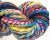Handspun Yarn Waste Not Want Not 66 yards super bulky rainbow yarn knitting supplies crochet supplies waldorf doll hair