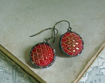 Red and Gold Glass Button Earrings Repurposed Jewelry