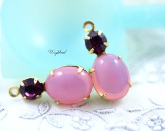 Vintage Oval Glass Dangles Set Stones 1 Ring 18x8mm Connectors Brass Settings Pink Opal & Amethyst - 2
