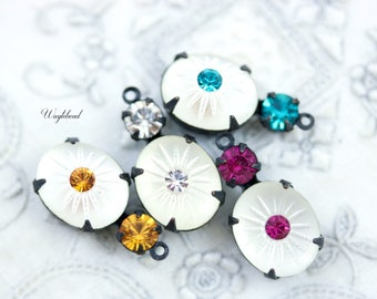 Vintage Glass Stones 1 Ring Black Antique Brass Settings Frosted White Crystal Clear Topaz Blue Zircon & Fuchsia - 4 .