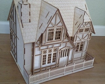 "Tudor Style 1/2"" scale Baltic Birch Laser-cut wooden dollhouse kit"