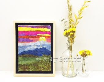 Original Framed 5 x 7  Canvas Art Landscape Collage Sunset