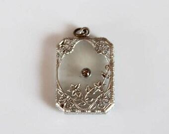 SALE camphor glass pendant / Art Deco pendant / vintage 30s pendant with rhinestone / 1930s glass pendant
