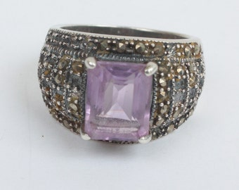 Amethyst Sterling and Marcasite Ring Size 6 3/4 Vintage TLC