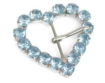 Blue Rhinestone Buckle Heart Shaped Vintage