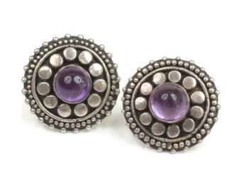 Amethyst and Sterling Post Earrings Raised Dot Detail Smaller Vintage