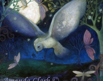 An art print from an original painting by Amanda Clark, The Owl and Moon.  Wildlife art. Landscape art prints.