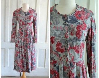 Laura Ashley Dress  Grey and Pink Floral  Button Down Bodice  Midi Dress