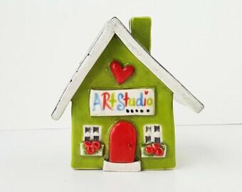 READY TO SHIP | Little Art Studio | Ceramic Art Studio | Little Clay House | Lime Green | Whimsical house | Art Studio | Artist House
