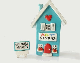 Custom MADE TO ORDER | Little Art Studio | Art Studio Little Clay House | Whimsical house Art Studio | Artist House | Fairy House