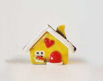 Little Clay House | Ceramic House | Miniature House | Whimsical house | Yellow House | Fairy House | Tiny House | Terrarium Decoration
