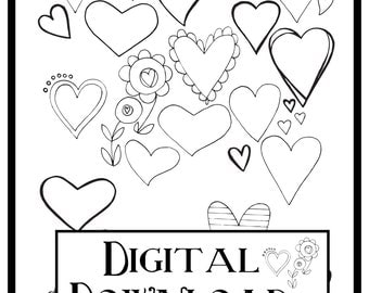 Printable Drawing Hearts | Digital Download | Adult Coloring Page | Collage Sheet | Digital Print | Heart Designs | Valentine Art | Collage