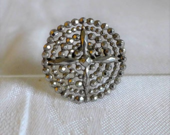 Old Victorian Cut Steel Button Cover Pave Riveted Graduated Made in France 1800's Vintage