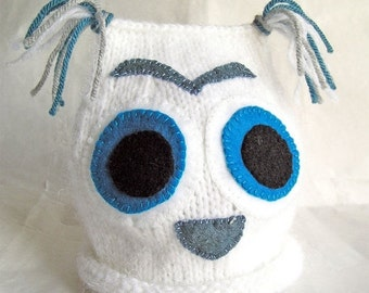 HOLIDAY SALE - Snow Owl Baby Hat, Photo Prop, Hand Knit, White Blue Gray, Size 3-6mos