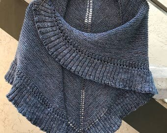 Lallybroch Ruffle Triangle Shawl Custom Hand Knit, 9 Color Options, Made to Order, Outlander