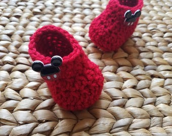 Crochet Baby Boots - Red with Mouse Buttons -  0-3 Months - free shipping included!