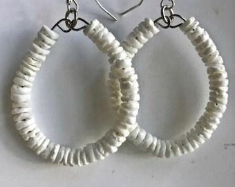 White Hoop Earrings, Heishi Hoops
