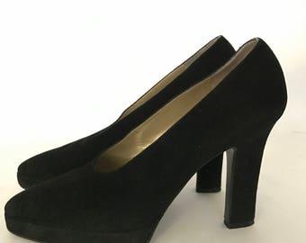 Yves Saint Laurent Black Suede Platform Pumps YSL High Heels Classic in Original Box US Women's Size 6.5