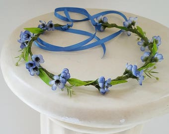 blue Bridal Halo forget me nots spring Flower Crown shower Hair wreath wedding accessories floral headeband circlet headwreath