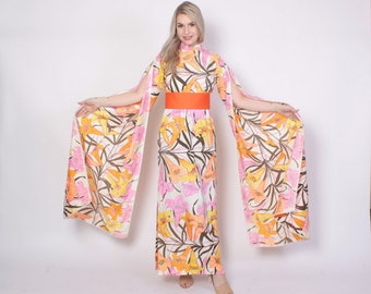 Vintage 60s KIMONO Sleeve Dress / 1960s Tiger Lily Floral Print Lilli Diamond Maxi DRESS