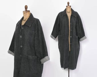 Vintage 80s Denim Maxi Duster / 1980s Minimalist Black Oversized Jean Maxi Coat