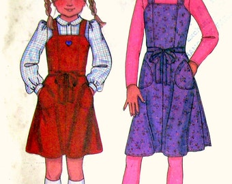 Girls' Wrap Jumpers - McCalls 7591 - Size 12 All-Season Vintage Sewing Pattern