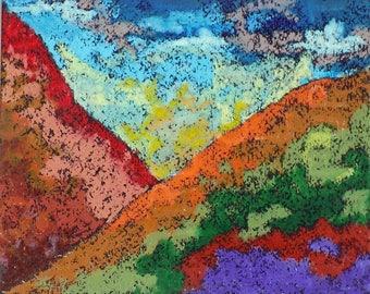 Mountain Sky—Original Oil Pastel set with Sky Blue, Reds, and Orange