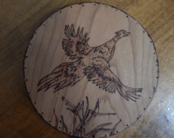 Wood Burnt Image of a Flying Pheasant Basket Bottom or Other Craft Projects